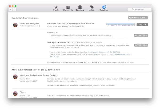 macOS Sierra 10.12.6 liste amelioration