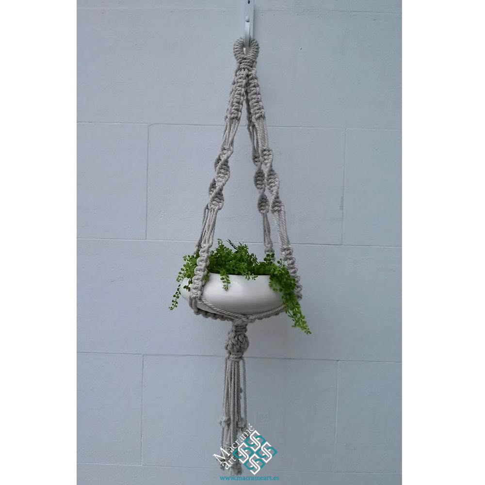 Macetero de macram de lino para colgar tus plantas  MacrameArt