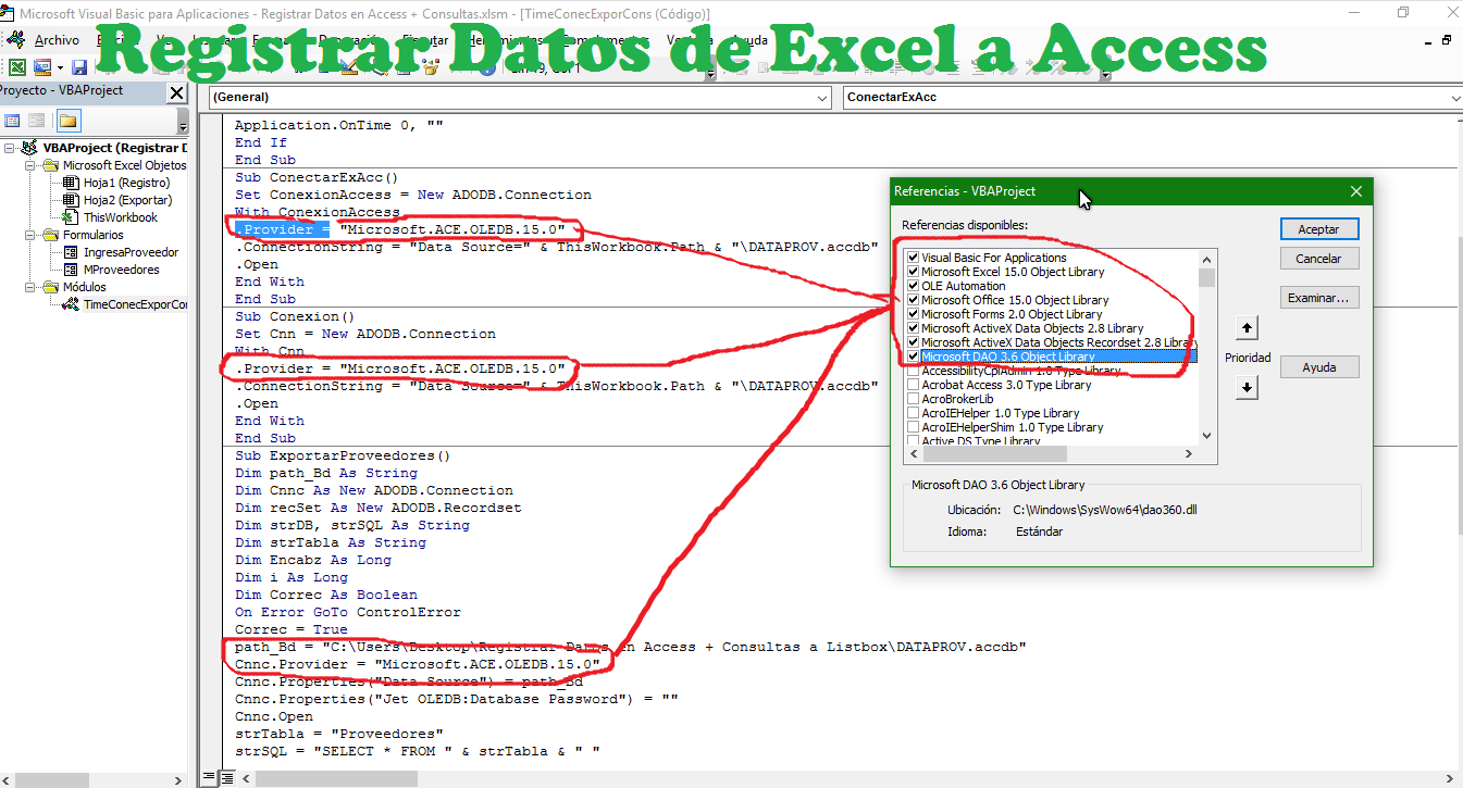 Registrar datos desde Excel a Access