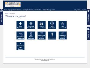 Yii dashboard of a custom CRM app