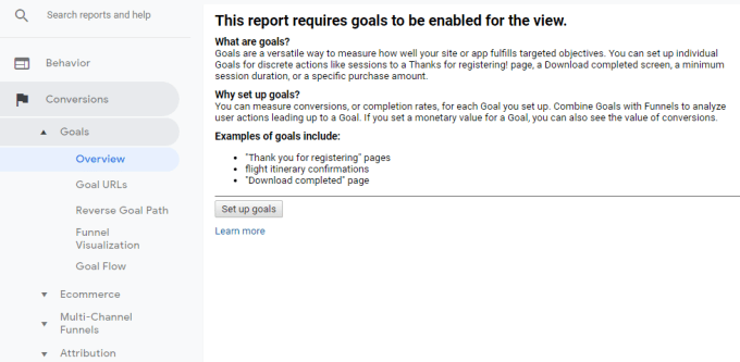 SEO Report goal setting