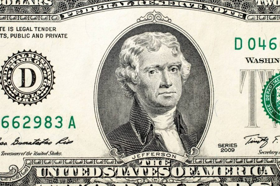 Thomas Jefferson as he appears on a two dollar bill