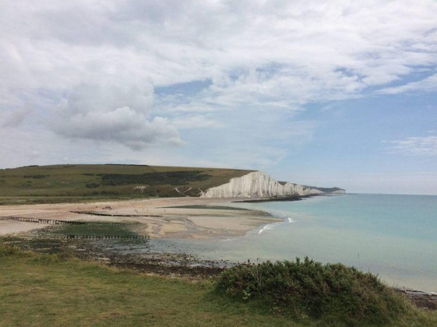 White chalk cliffs on the South Downs Way
