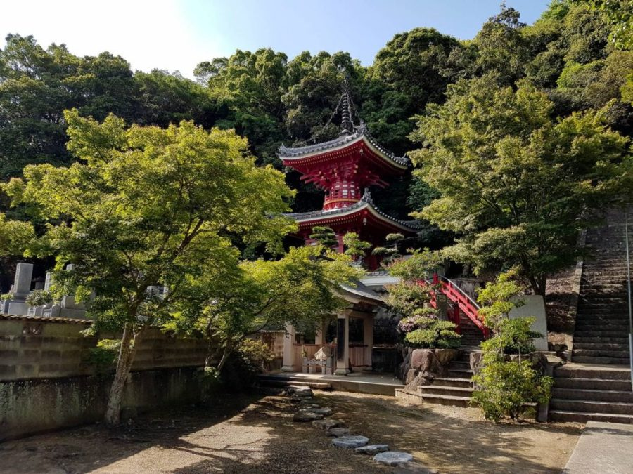 Temple hidden behind trees on the Shikoku Pilgrim's trail