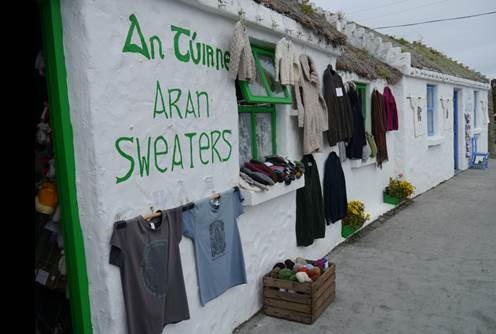 Aran sweaters hanging outside a local shop