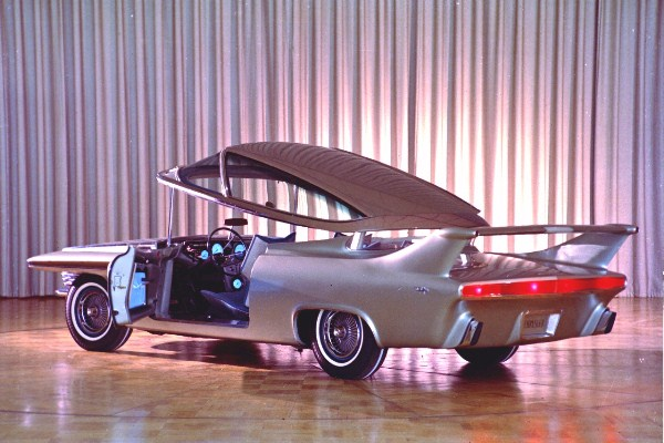 1961 Chrysler Turbo Flite Ghia left rear with roof lifted