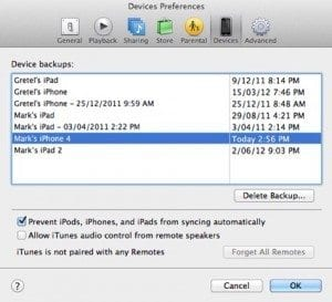 iPhone backups