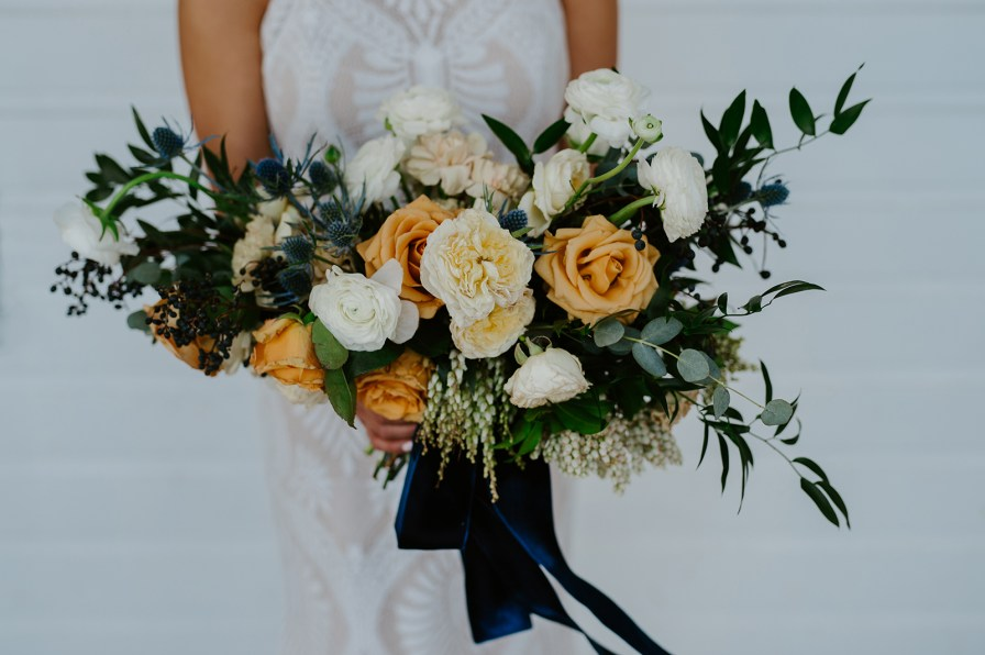 mustard blue bouquet