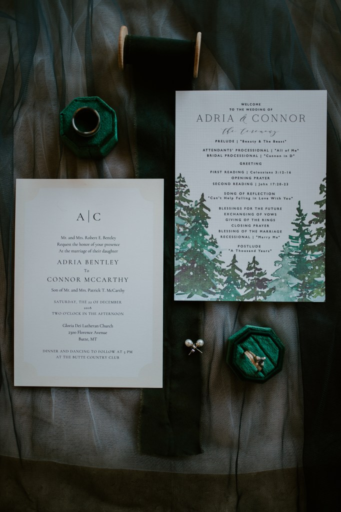 pine tree wedding invitation