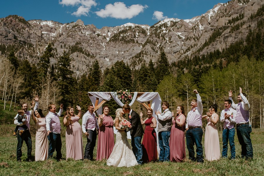 pink wedding party colors
