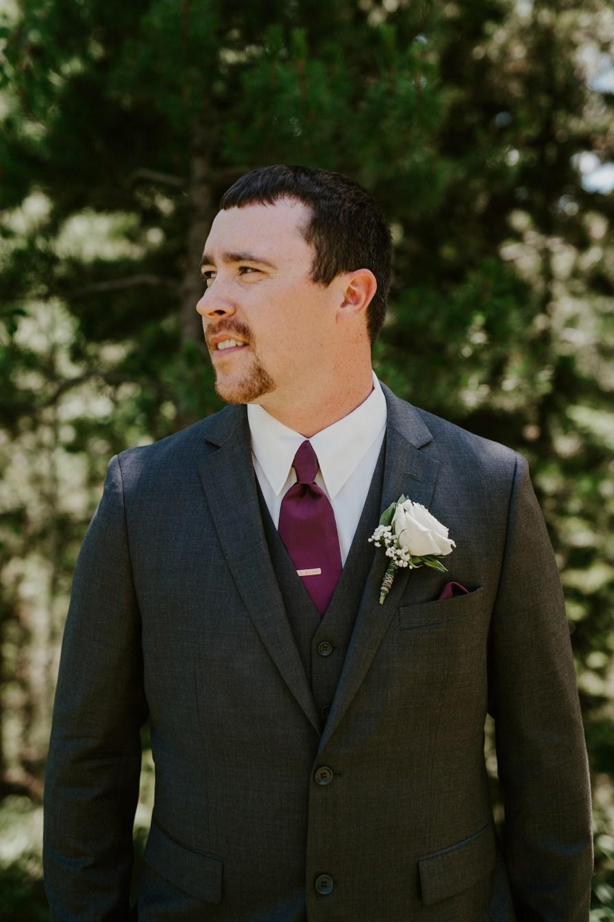 purple tie groom