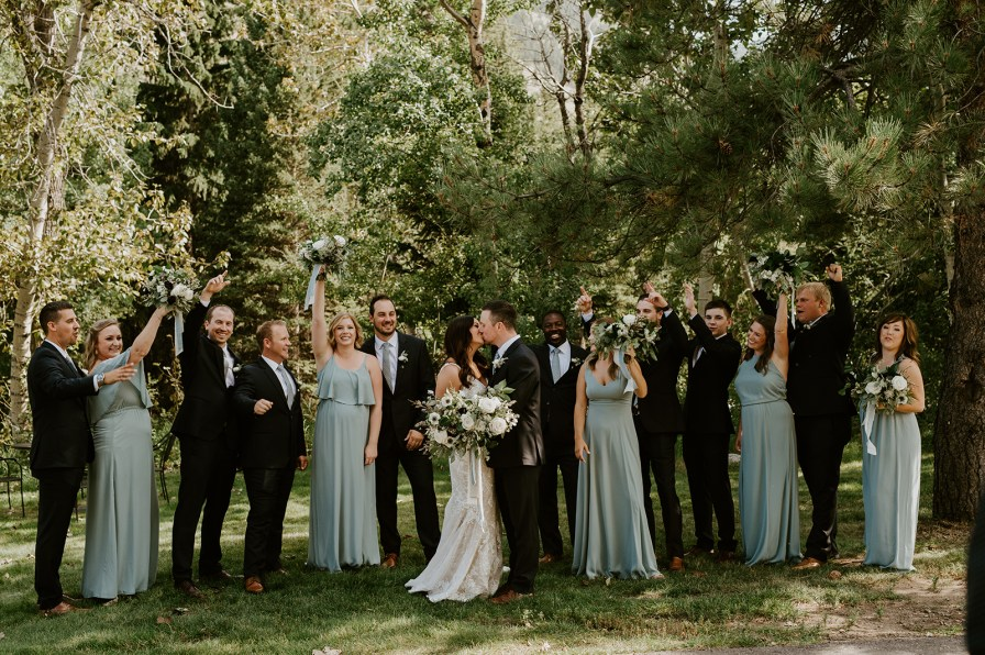 blue and black bridal party
