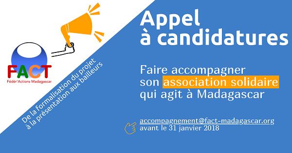 Appel à projet, Appel à candidatures 2018 par Fédér'Action Madagascar