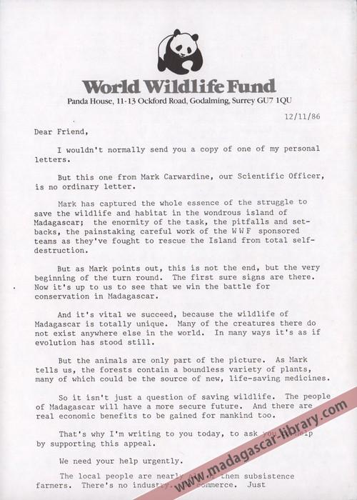 World Wildlife Fund Letter November 1986  Madagascar