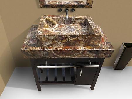 mosaique rectangular petrified wood sink