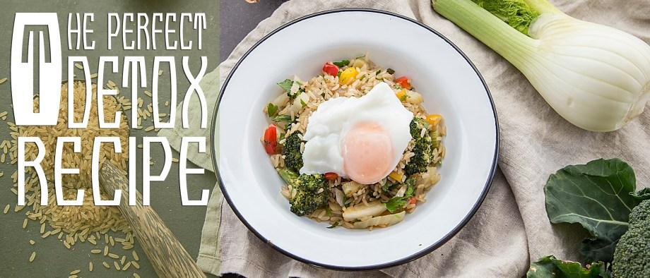 Καστανό ρύζι με ψητά λαχανικά και αυγό ποσέ
