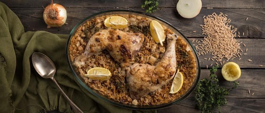 Λεμονάτο γιουβέτσι κοτόπουλο με κριθαράκι ολικής άλεσης