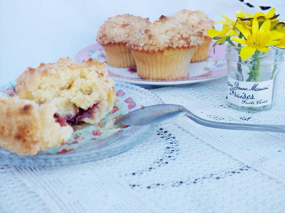muffin crumble coeur de fraise