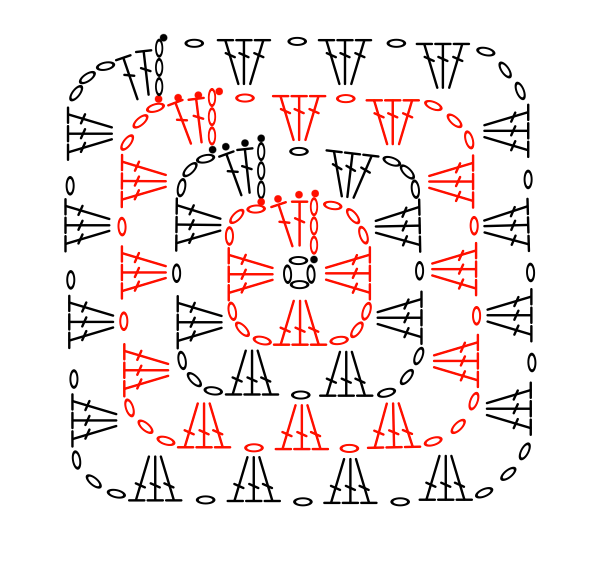 granny square crochet chart