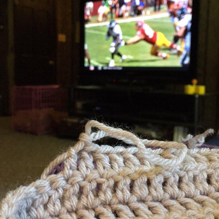 Crochet and footballyup crochetersofinstagram crochetaddict madamestitch sundayfootball makersgonnamake lionbrandyarn vannaschoice