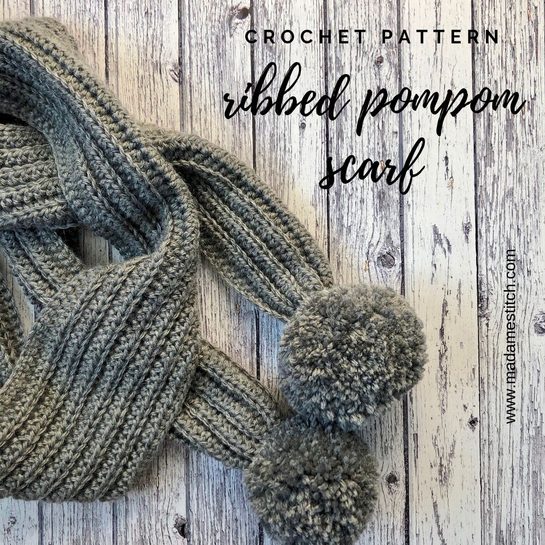 * NEW PATTERN * Ribbed Pompom Crochet Scarf via @madamestitch