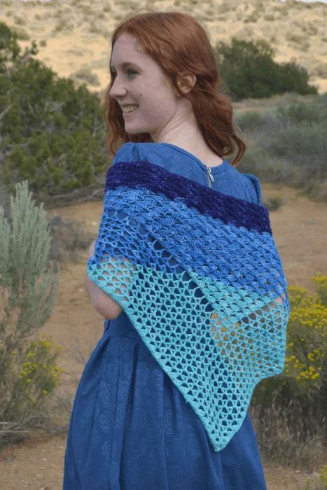 Wave Shawl crochet pattern by Desert Blossom Crafts