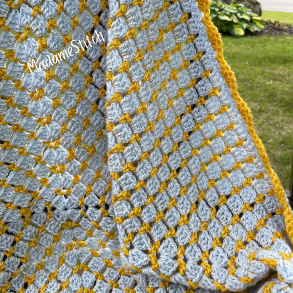 Closeup of the Blissful Blocks baby blanket