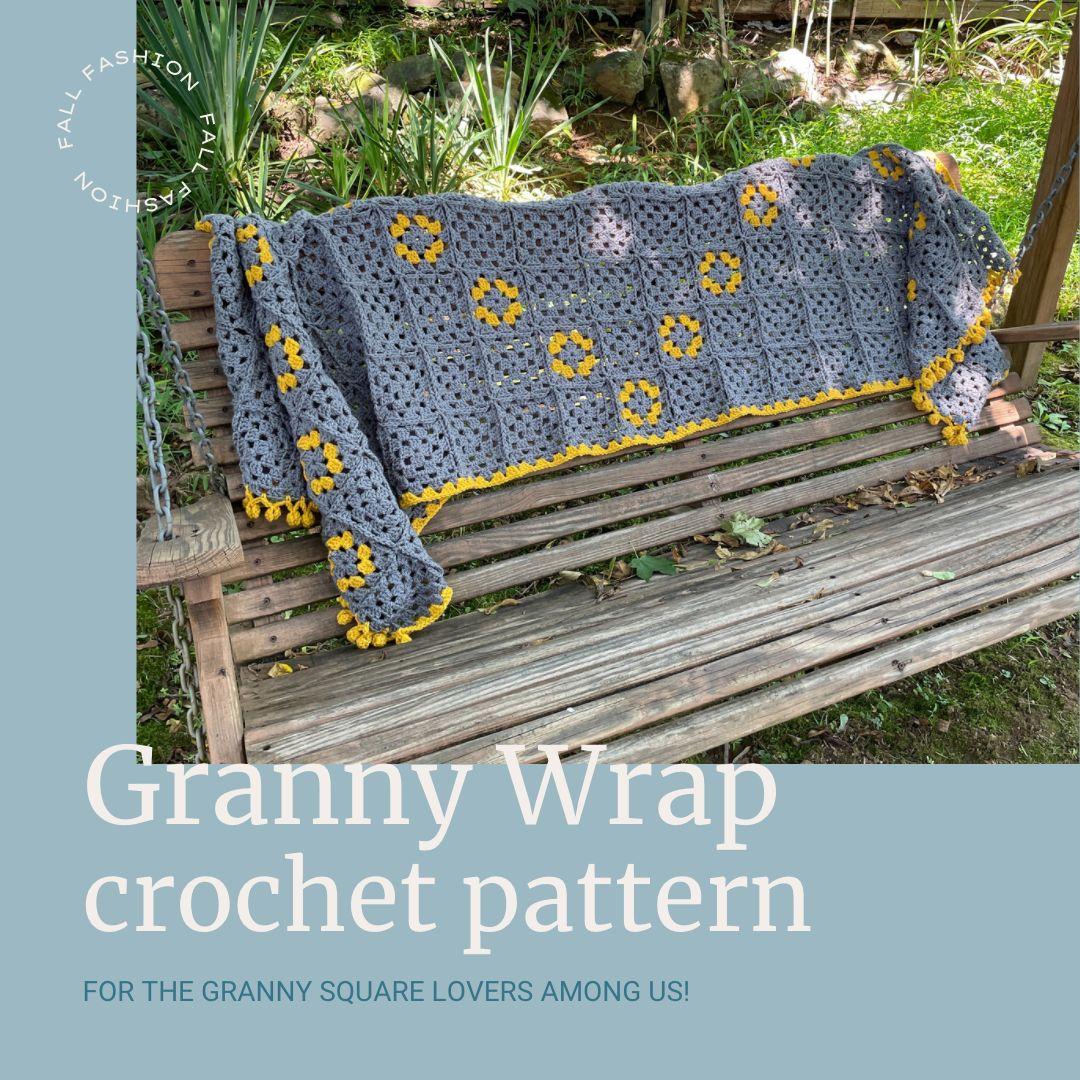 Granny Square Wrap Pattern via @madamestitch