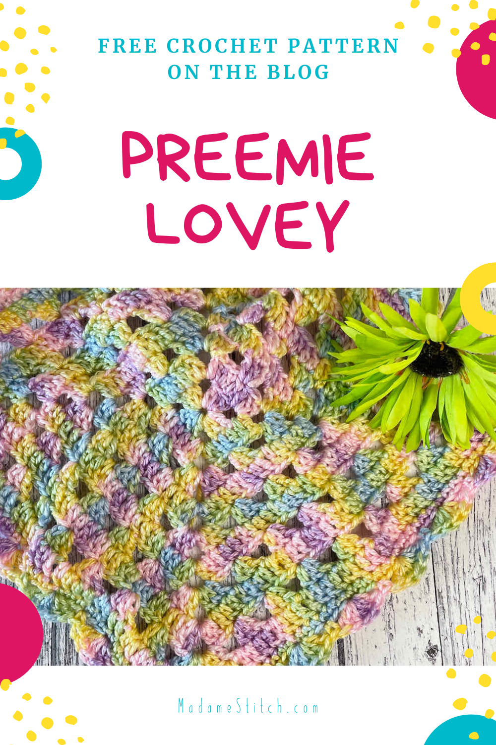Preemie Granny Square Lovey free crochet pattern on the blog by MadameStitch