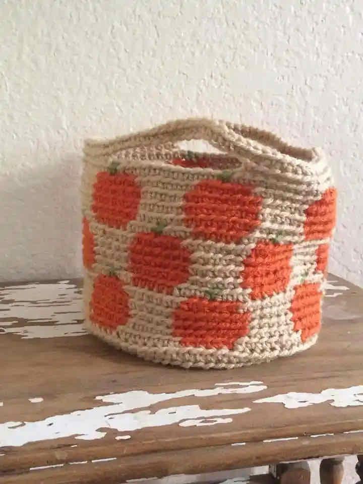 Pumpkin basket crochet pattern