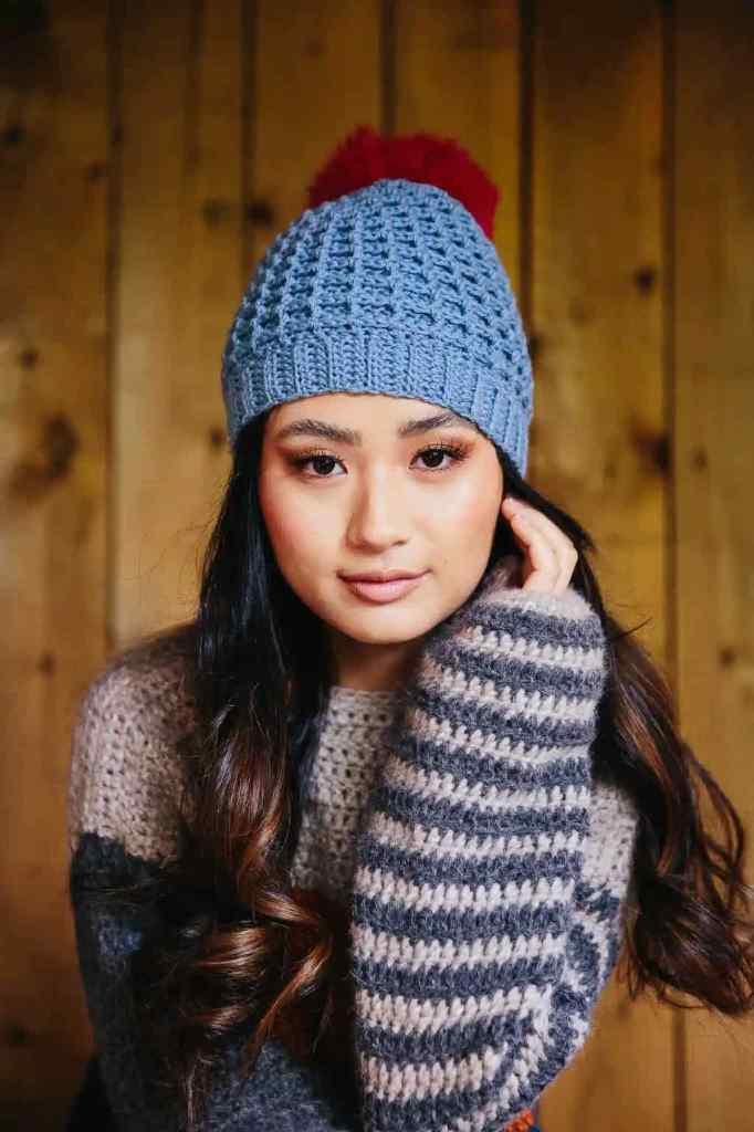 Off Piste Waffle Stitch crochet hat pattern by Dora Does