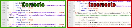 Comparacion de codigo correcto he incorrecto en Notepad Plus Plus
