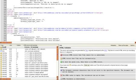 En la foto vemos como el validador nos muestra todos los errores de la pagina y nos orienta para poder corregirlos