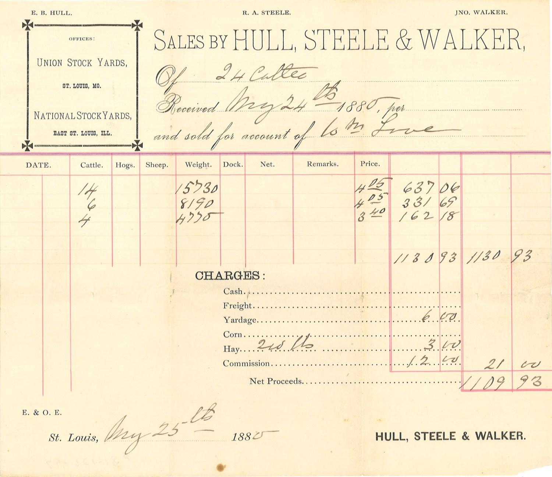cattle sale receipt, 1880