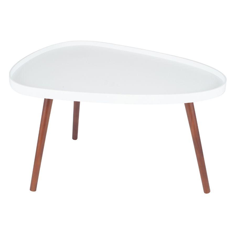white brown pine wood teardrop coffee table