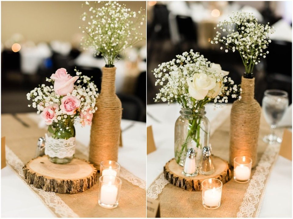 Burlap and baby's breath wedding decor | Maddie Peschong Photography