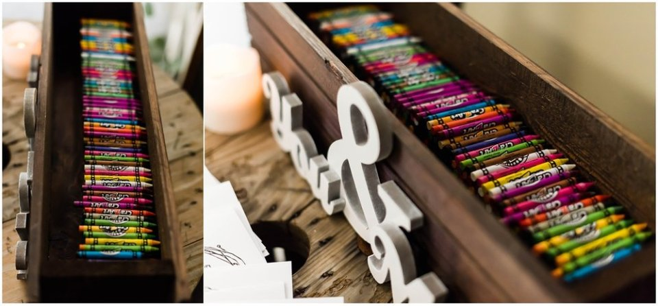 Kids' activity table at wedding reception | Maddie Peschong Photography