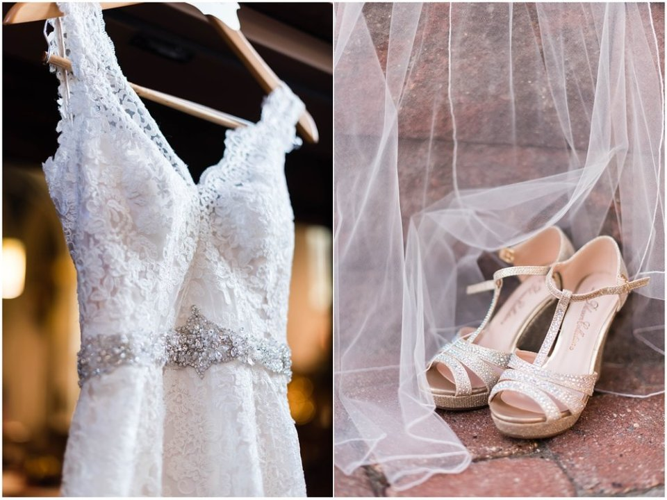 Lace wedding dress and shoes with veil | Maddie Peschong Photography