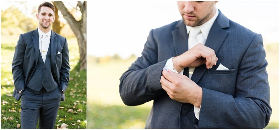 Charcoal groom suit potraits | Maddie Peschong Photography