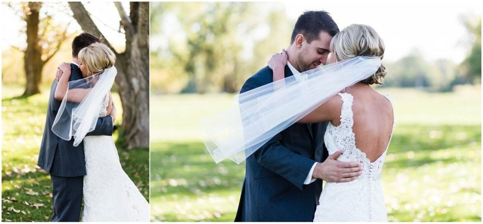 Bride and groom fall first look | Maddie Peschong Photography