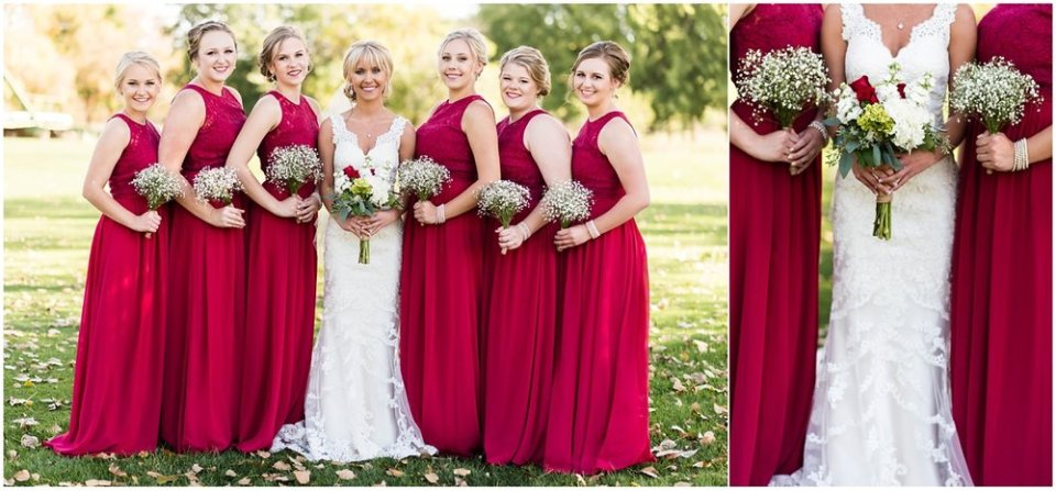 Wine bridesmaid dresses with baby's breath | Maddie Peschong Photography