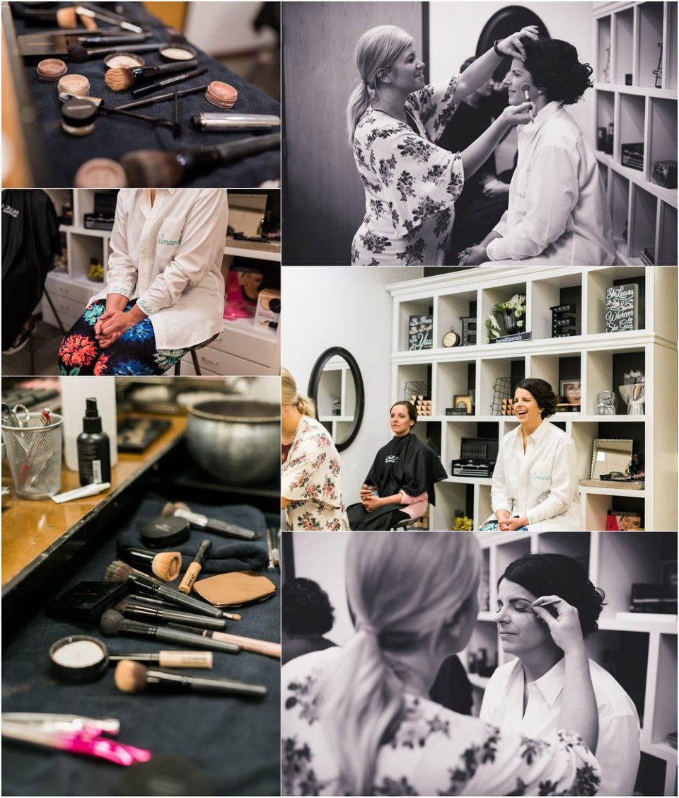 Bride getting makeup on wedding photos | Maddie Peschong Photography