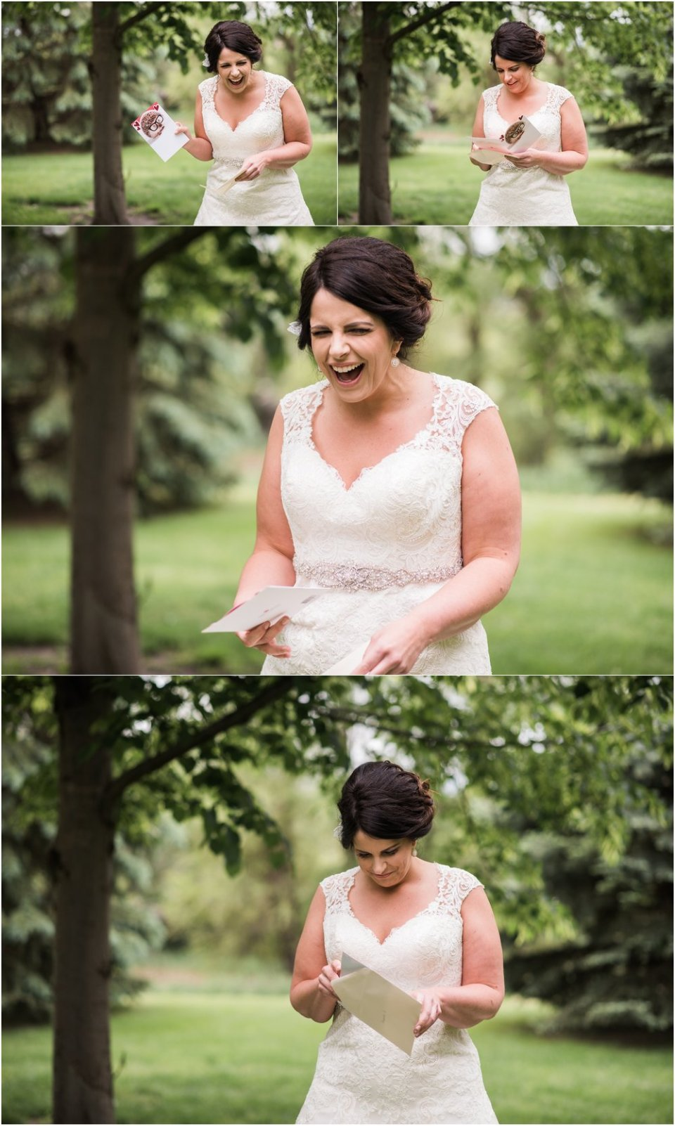 Bride reading note from groom before first look | Maddie Peschong Photography