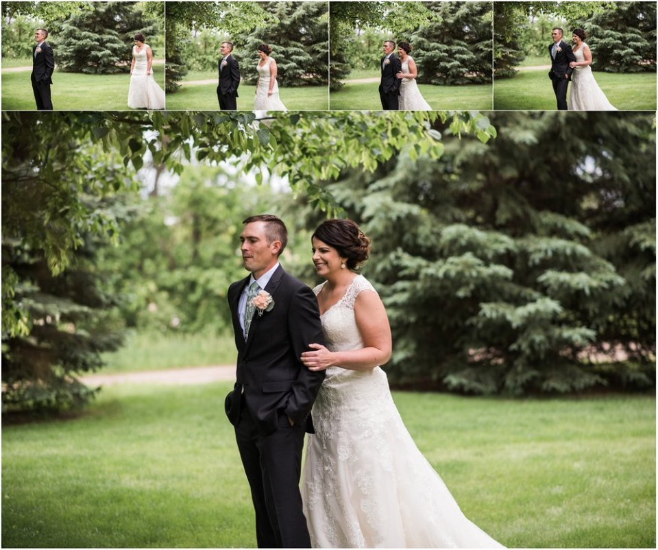 Bride and groom spring greenery first look | Maddie Peschong Photography