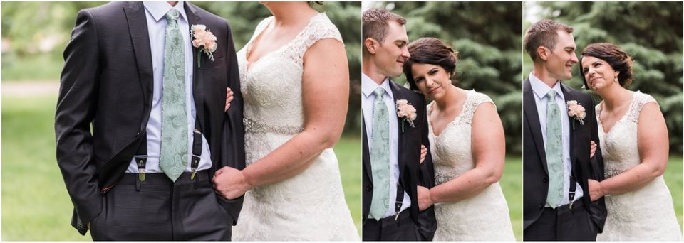 Bride and groom embracing on blush and mint wedding day | Maddie Peschong Photography