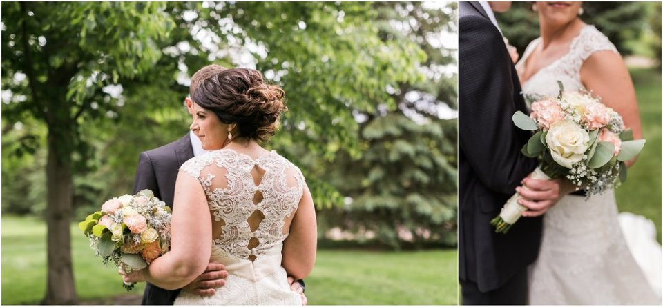 Bride and groom embrace with bouquet | Maddie Peschong Photography