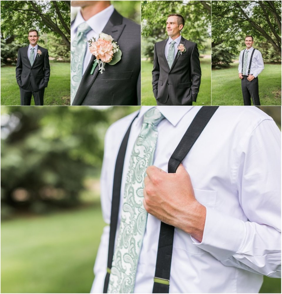Groom in gray suit with mint tie and suspenders | Maddie Peschong Photography