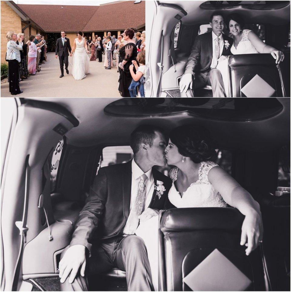 Bride and groom ride to reception | Maddie Peschong Photography