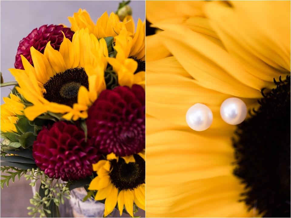 Sunflower wedding bouquet pearl earrings