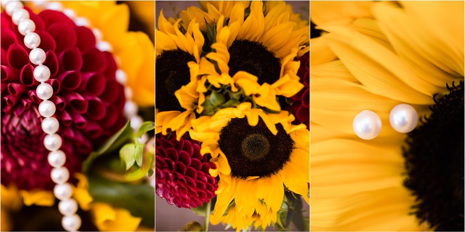 sunflower wedding bouquet with pearls